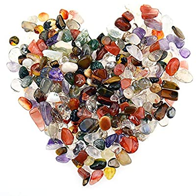 Unihom Assorted Stone Chips Tumbled Chips Stone Crushed Crystal Quartz Irregular Shaped Stones for Home Decorative Stones Vases Plants Succulents Cactus 0.5 Pound(About 230Grams)
