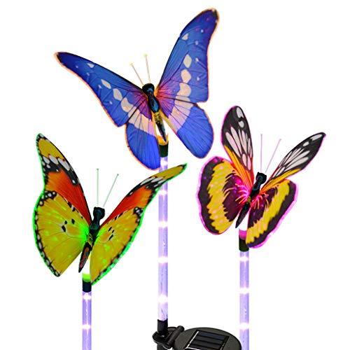 TAOBEGJ Luz Solar para Paisaje, LED, Enchufe De Tierra para Jardín, Patio, Lámpara De Camino, Adorno para Decoración De Suelo De Césped, Letrero De Arte para Patio De Navidad,Multicolor-3 PCS