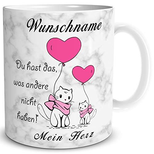 TRIOSK Tasse Liebe lustig Spruch mit Name personalisiert Mein Herz Valentin Katzenmotiv Liebestassen verliebte Paare