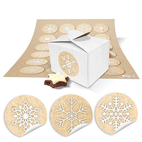 24 kleine weiße Geschenkboxen Geschenkverpackung Geschenkschachteln Weihnachten 8 x 6,5 x 5,5 + Aufkleber Schneeflocken beige weiß, hübsche Weihnachtsschachtel für Geschenke oder Wichteln