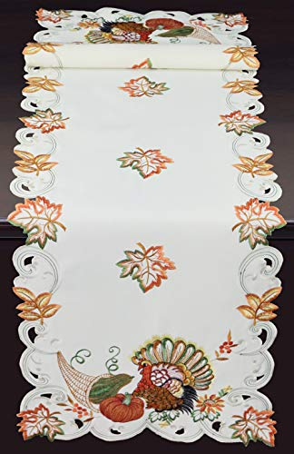 Creative Linens Fall Harvest Thanksgiving Table Runner 15x52, Embroidered Turkey Pumpkin Maple Leaf Sunflower Dresser Scarf Ivory Holiday Decoration
