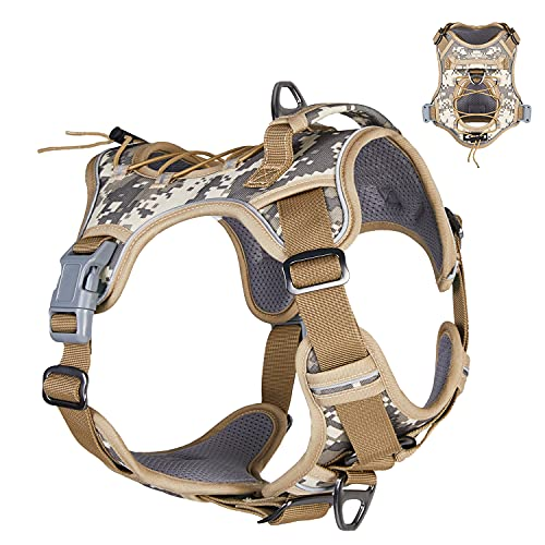 Dog Harness for Medium Dogs No Pull, Tactical Dog Harness Medium Size Dog, Medium Dog Harness French Bulldogs, Dog Harness with Handle, Reflective Dog Harness for Walking Training Running
