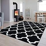 Tapiso Colección Luxury Alfombra Salón Moderno Piso Color Negro Blanco Diseño Geométrico Fácil Mantenimiento 180 x 250 cm