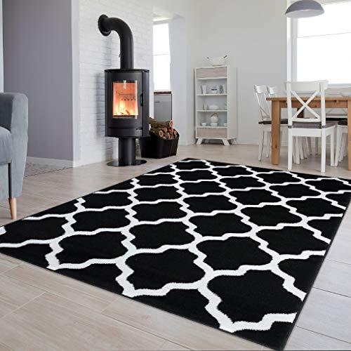 Tapiso Luxury Teppich Kurzflor Modern Marokkanisch Geometrisch Gitter Kleeblatt Muster Schwarz Weiss Wohnzimmer ÖKOTEX 200 x 300 cm