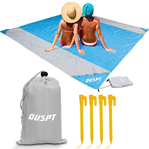 OUSPT Beach Blanket, Sand Free Picnic Outdoor Mat- Large 6.6