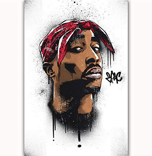 NOVELOVE Wandkunst Bild Tupac 2Pac Hip Hop Rapper Sänger Star Poster Drucken Leinwand Malerei Ohne Rahmen 40 * 60 cm