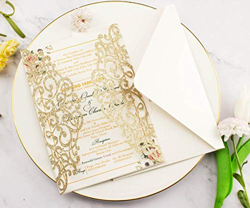 50 Sets Light Gold glitter paper Laser Cut Vintage Wedding Invitations Cards Hollow Floral Exquisite Carving Greeting invites cards for Engagement Birthday Bridal Shower (light gold glitter)