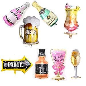 MissGood Globos Hawaianos Champagne Copa de Vino Cerveza Cerveza Whisky Cóctel Botella Foil Globos Verano Fiesta en la Playa Boda Cumpleaños Decoración Nupcial Suministro Paquete de 8