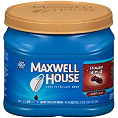 One 24.5 oz. canister of Maxwell House Medium Roast House Blend Ground Coffee Maxwell House Medium Roast House Blend Ground Coffee has a consistently great taste House blend roast ground coffee is balanced, smooth and lively Made with 100% real coffe...
