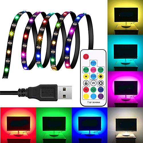 DC5V 1M 2M 3M WS2812 SMD5050 Impermeable inteligente IC USB LED Strip Light + 17 teclas de control remoto ILFYJRHD (Color : Color: RGB)