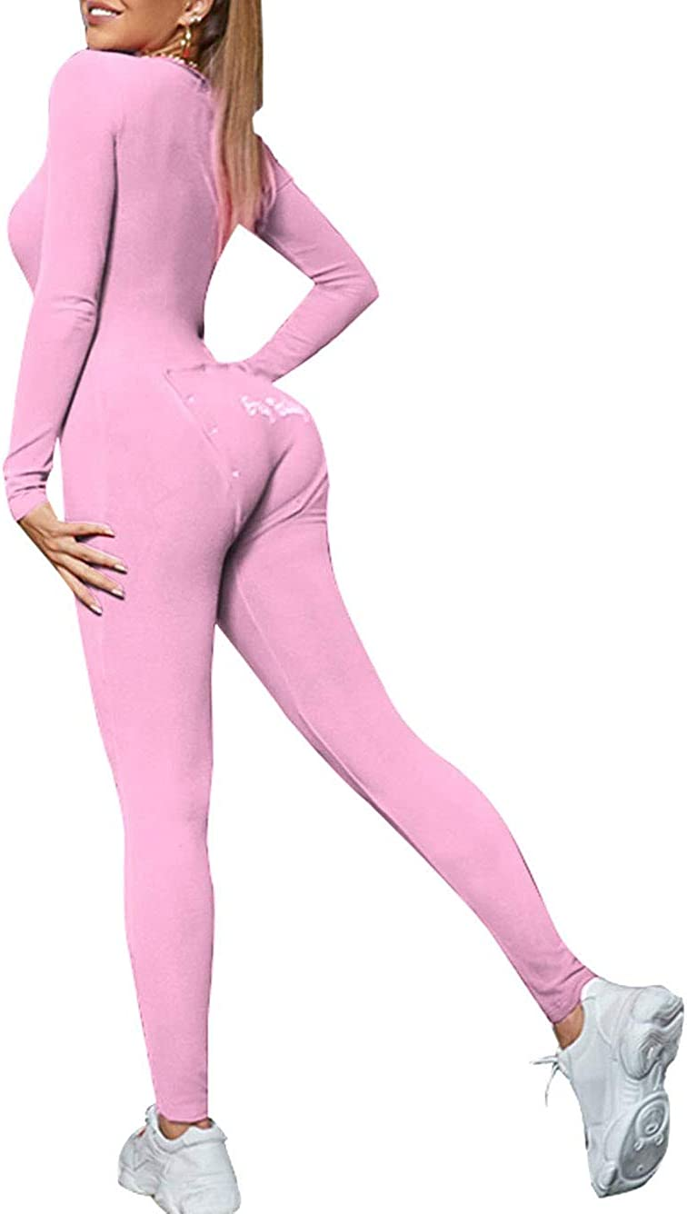 Comulish Oklahoma City Mall Women Sexy Butt Button Max 86% OFF Back Pajamas Nec Flap V Jumpsuit