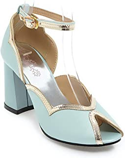 BalaMasa Womens ASL06451 Pu Block Heels
