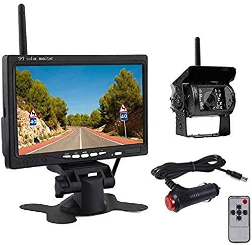 OiLiehu Caméra de Recul sans Fil Kit Système, IP68 Étanche Vision Nocturne Caméra de Recul + 7' Moniteur pour RV Remorques de...