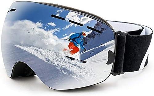 IUYWL Lunettes de Ski Double Anti-buée Grande Surface sphérique Peut Porter des Lunettes de myopie équipeHommest de Ski Masque de Ski (Couleur   C)