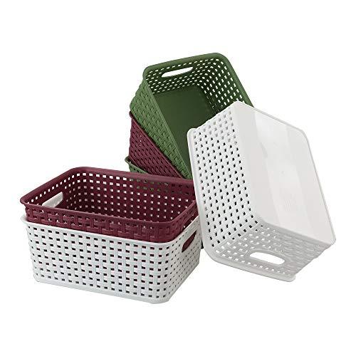 Mayish Cestas de Almacenamiento de Plástico de Ratón, Color Rojo Vino Verde Oscuro Blanco, 6 Paquetes