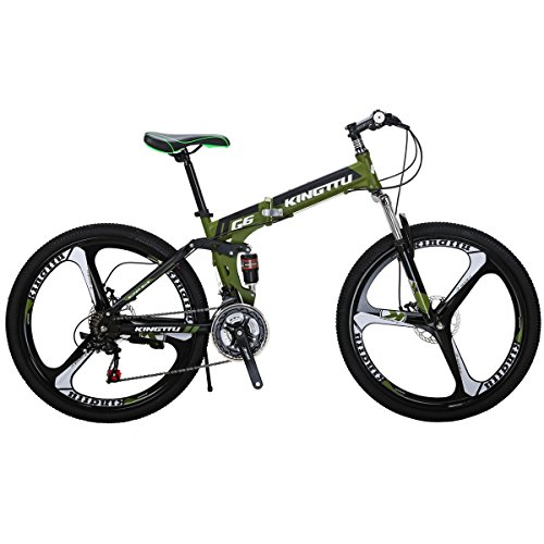 Eurobike Mountain Bicycle G6 21 Speed 26-Inch 3-Spoke Wheels Bike Dual Suspension Folding Bicycle Green