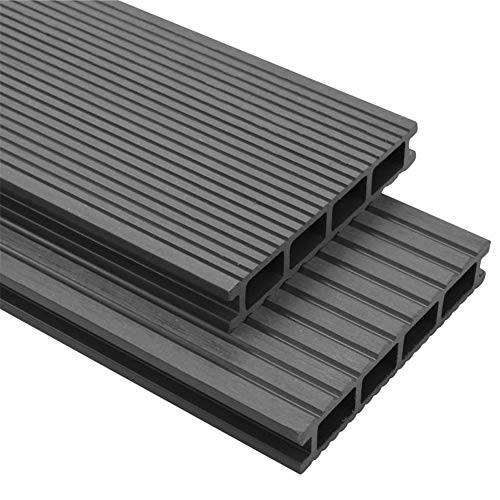 BIGTO WPC Decking Boards with Accessories 10 m² 4 m,Extra strong: 25 mm thick,Reversible decking boardsby (Grey)