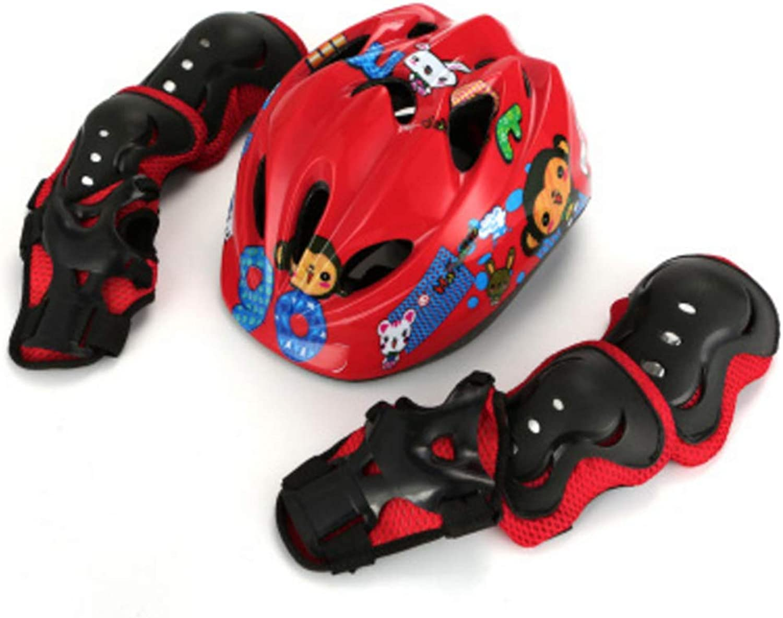 ZMJY Kind Protective Gear Set, Boys Girls Cycling Cycling Helmet Safety Pads Set [Knie & Ellenbogen Pads Wrist Guards] Roller Skateboard Bicycle-7 Pcs B07Q2Q7VQ7  Verschleißfest