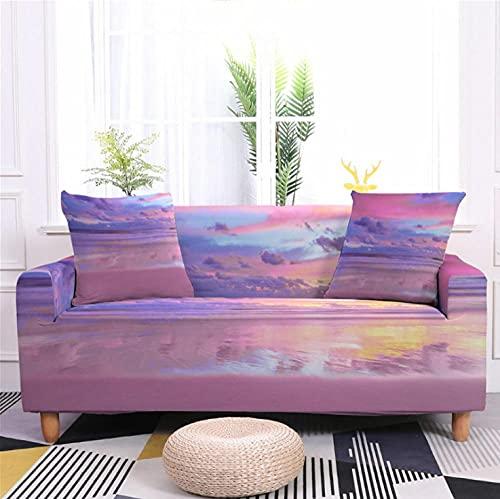 Fundas de Sofá Elastica 2 PlazasPatrón de Puesta de Sol púrpura Funda Cubre Sofa Regalar 2 Funda de Cojines Funda para Sofá Funda de sofá de Sillón Antideslizante Protector Cubierta de Muebles