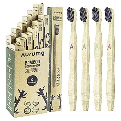 Aurumg Cepillo Dientes Bambú ergonómico Paquete de 12 cepillos de Dientes de Bambú con cerdas de carbón de bambú para una mejor limpieza, Embalaje Reciclable, 100% libre de BPA