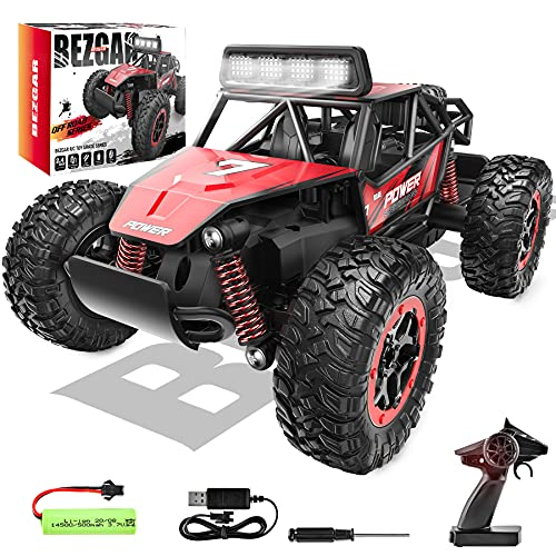 BEZGAR 17S Toy Grade 1:20 Scale Remote Control Car, 2WD High Speed 20 Km/h All Terrains Electric Toy Off Road RC Monster Vehicle Truck Crawler with Rechargeable Battery for Boys Kids and Adults