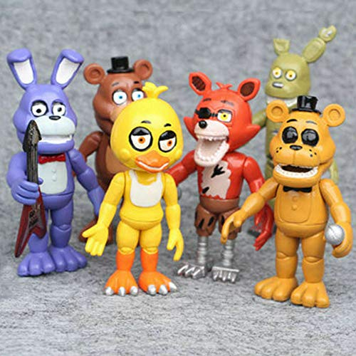 Jubasix Set of 6 pcs FNAF Game Action Figure Toys Dolls Gifts Cake Toppers, 6 inches