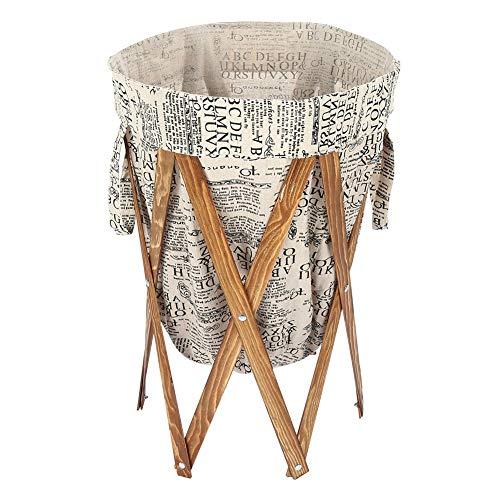 Opvouwbare grote wasmand, opvouwbare ronde wasmand voor vuile kleding met houten frame voor thuisgebruik, 27,6 inch hoogte x 15,7 inch diameter (grijs)