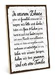 TypeStoff Holzschild mit Spruch – Familie Regeln