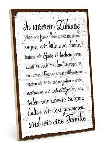TypeStoff Holzschild mit Spruch – Familie Regeln HAUSORDNUNG – Shabby chic Retro Vintage Nostalgie deko Typografie-Grafik-Bild bunt im Used-Erscheinungsbild aus MDF-Holz (28,2 x 19,5 cm) - HS-00058