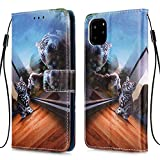 Nadoli Wallet Case for iPhone 11 Pro 5.8',Colorful Mirror Cat Pattern Pu Leather Bookstyle Card Slots Magnetic Flip Cover With Hand Strap for iPhone 11 Pro 5.8'