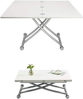 Table de salle à manger et chaises modernes, table de salle à manger convertible en table basse, réglable Moderne Square T...