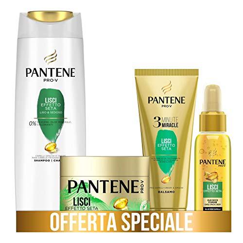 Pantene Pro-V Balsamo 3 Minute Miracle, Lisci Effetto Seta, 150 ml + Maschera 300 ml + Olio Secco 100 ml + Shampoo 225 ml