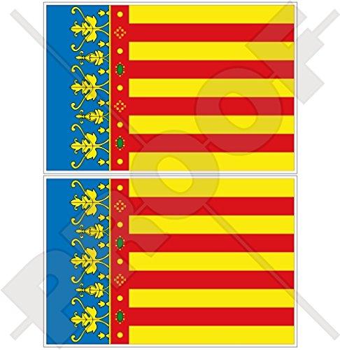 Lot de 2 autocollants pour pare-chocs en vinyle avec drapeau de la Communauté de Valence, Valence, Valence, Espagne, 100 mm