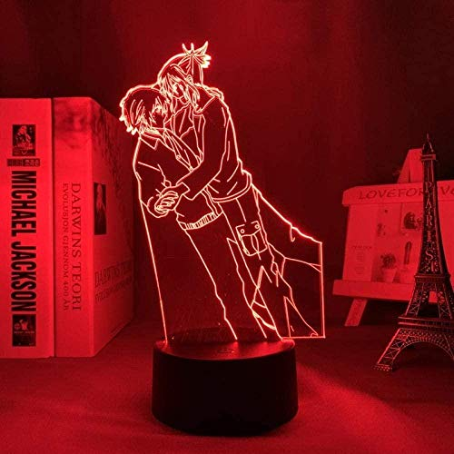 Tatapai Luz nocturna 3D Ilusión Led Lámparas Decoración Lámpara para Niños No 6 Led Luz de Noche para Dormitorio Decoración Regalo Luz Noche Anime Escritorio BL Lámpara 3D No 6