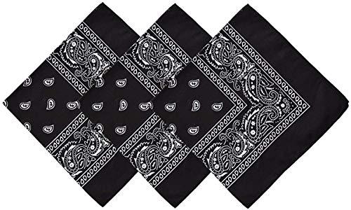 Pack 3 Pañuelos Bandanas de Paisley de Algodón para Cuello Pulsera Cabeza Unisex (negro x 3, Talla única)