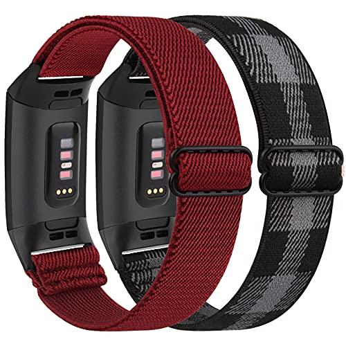 Vancle 2 correas elásticas compatibles con Fitbit Charge 3 / Fitbit Charge 4, correa ajustable de nailon extensible, correa de repuesto para Fitbit Charge 3/Charge 4/Charge 3 SE (rojo vino + rejilla)