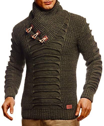Leif Nelson Herren Strickpullover Pullover Schalkragen Slim Fit Männer Pulli Winter Slim Fit LN-5575 Khaki Schwarz Medium