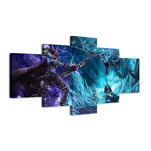 VENDISART,Leinwanddrucke,Modulare Wandkunst Wandaufkleber,5 Teiliges Wandbild,Sylvanas Windrunner World of Warcraft-Spiele,Mit Rahmen,Größe:M/B=150Cm,H=80Cm