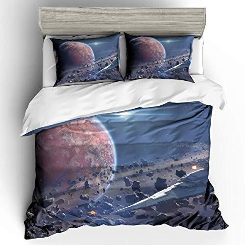 Stoelen Bedding starry thema 3D gedrukte planeet en kosmische patroon 1 donzen dekbedovertrek 2 kussensloop Geschikt voor tieners en kinderen,259 * 229cm