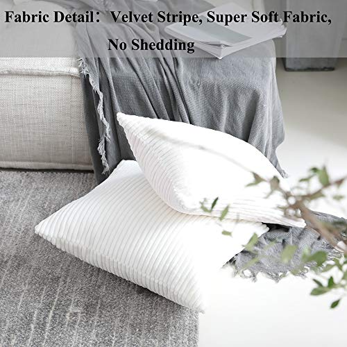 Home Brilliant Decor Striped Corduroy Velvet Cushion Cover for Baby Supersoft Decorative Pillowcase, Creamy White, 18x18 Inches(45cm)