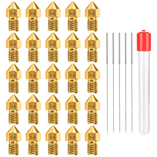 0.4MM MK8 Ender 3 Nozzles 25 pcs 3D Printer Brass Nozzles Extruder for...