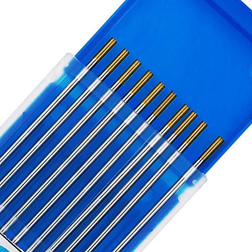 TEN-HIGH tig Electrodos de tungsteno Electrodos de soldadura, Lanthanum 1.5% Oro, Para soldadura DC y AC, 2.4 mm x 150 mm