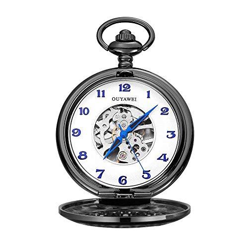 HCFSUK Elegante Reloj de Bolsillo Neutral Reloj de Bolsillo mecánico Antiguo Reloj de Bolsillo Esqueleto mecánico Punk con Cadena como el día de San Valentín Reloj mecánico Retro Simple Unisex Relo