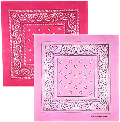 Feelinko 2er-Pack multifunktionales Original Paisley Bandana Nicki Biker Tuch 100% Baumwolle Halstuch Kopftuch Zandana Multifunktionstuch Unisex einfarbig Pink-Rosa