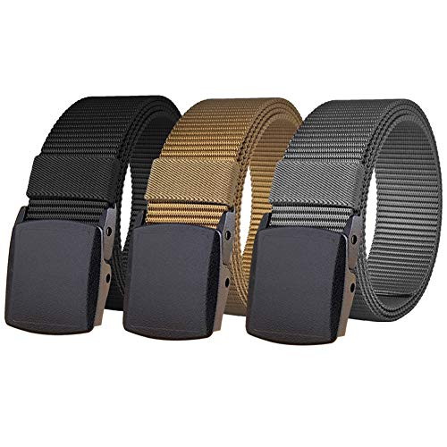 "WYuZe 3 Pack Nylon Belt, 1.5"" Wide No Metal Adjustable Tactical Military Men Belt Black Plastic Buckle"