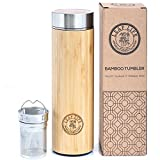 Original Bamboo Tumbler with Tea Infuser & Strainer by LeafLife | 17oz Premium Tea Bottle | Vacuum Insulated Travel Tea Mug | Comes with Tea Diffuser For Loose Tea
