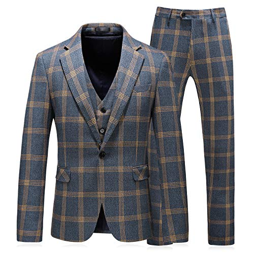 Herrenanzug Plaid Formal Anzüge Set Männer Beiläufige Art Und Weise Geschäfts-Formale Klage Dreiteilige Brautkleid Suits,a,56/3XL