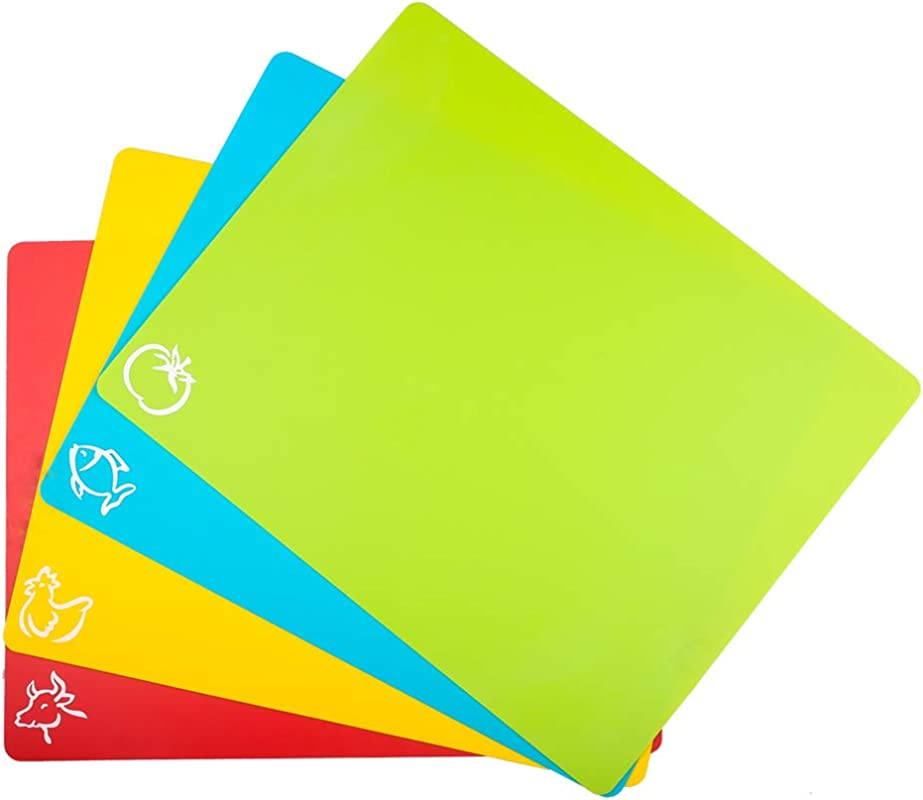 Carrollar Cutting Board Mats Flexible Plastic Colored Mats With Food Icons BPA Free Non Porous Anti Skid Back And Dishwasher Safe Set Of 4