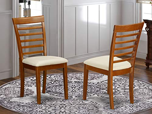 East West Furniture MLC-SBR-C Milan kitchen chairs - Microfiber Upholstery Seat and Saddle Brown Hardwood Structure dining room chair set of 2