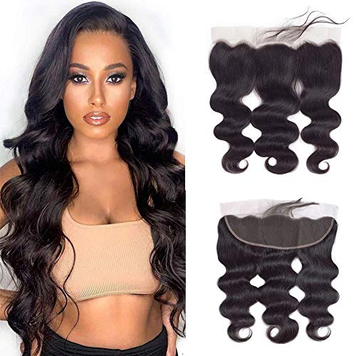 16inch Brazilian Body Wave 13x4 Lace Frontal With Baby Hair Body Wave Human Hair Top Swiss Lace Ear to Ear Frontal Natural Color